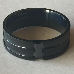 Sz 11 Black Stainless Steel Band. Stone Inlay.